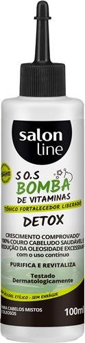 TÔNICO FORTALECEDOR SALON LINE - S.O.S BOMBA DETOX  LIBERADO - 100ML