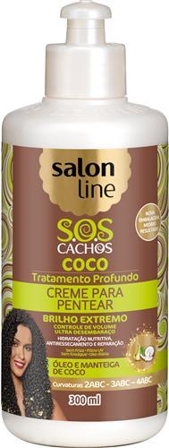 CREME PARA PENTEAR SALON LINE - S.O.S CACHOS BRILHO EXTREMO COCO - 300ML
