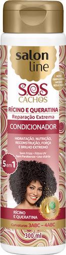 CONDICIONADOR SALON LINE - S.O.S CACHOS RÍCINO E QUERATINA - 300ML