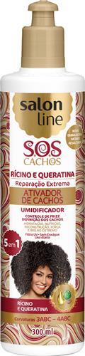 ATIVADOR DE CACHOS SALON LINE - S.O.S CACHOS - RÍCINO E QUERATINA - 300ML