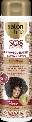 SHAMPOO SALON LINE - S.O.S CACHOS RÍCINO E QUERATINA - 300ML