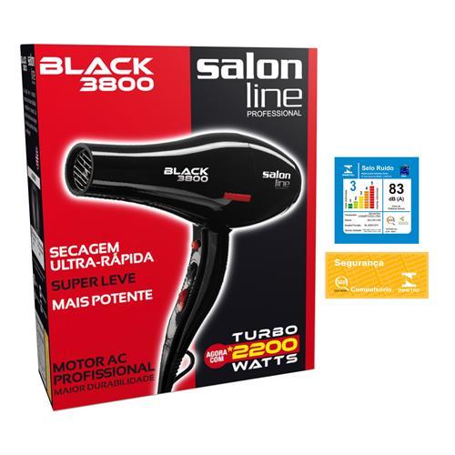 SECADOR DE CABELO BLACK SALON LINE  - 3800 - 2.200W - 220V SALON LINE